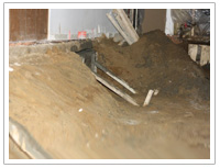 Underpinning of section 1 side view Lowering Basement Toronto GTA